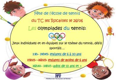 Les olympiades du tennis le 26/06/19